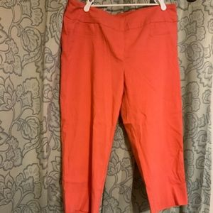Coral cropped dress pants